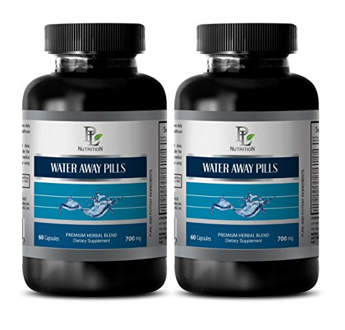 immune support capsules - WATER AWAY PILLS 700MG - NATURAL DIURETIC - green tea - 2 Bottles (120 Capsules) by PL NUTRITION