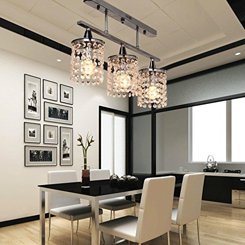 3 Light Hanging Crystal Linear Chandelier with Solid Metal Fixture, Modern Flush Mount Ceiling Light Fixture for Entry, Dining Room, Bedroom
