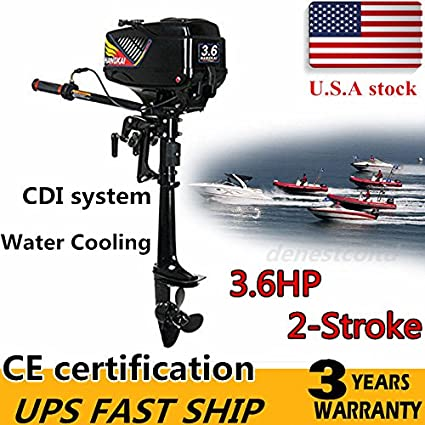 HANGKAI Outboard Motor,3 6HP 2-Stroke Outboard Motor Engine Fishing Boat  Motor Water Cooling System Durable Cast Aluminum Construction for Superior