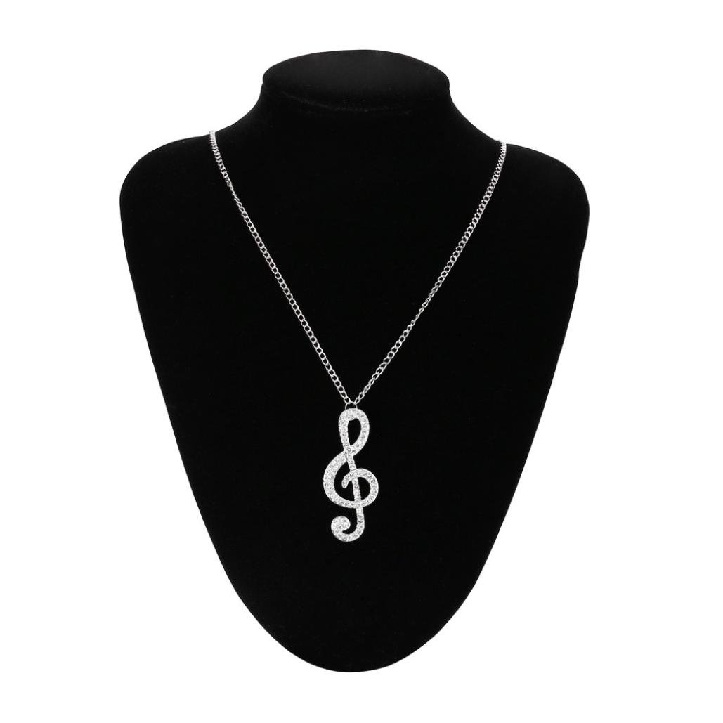 Besooly Women Crystal Music Note Pendant Chain Sweater Necklace Engagement Necklace (Silver)