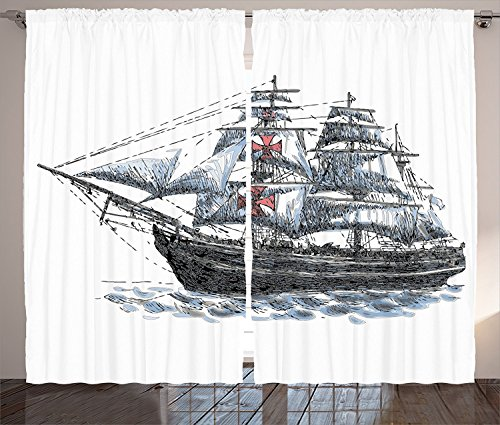 Apartment Decor Curtains Old Dated Aged Columbus Ship
