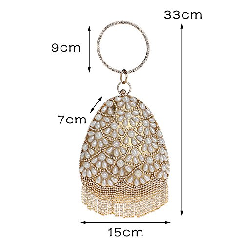 With Rhinestones Diamonds Lady Shaped Evening Bucket Handbags Fruit Women Beaded Red Clutch Wedding TuTu Bags Tassel Pearl wFzvqP