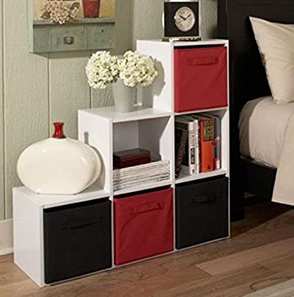 6 Cube Box Stackable White Wood Shelving Organizer Good Bookshelf Or Storage Use In