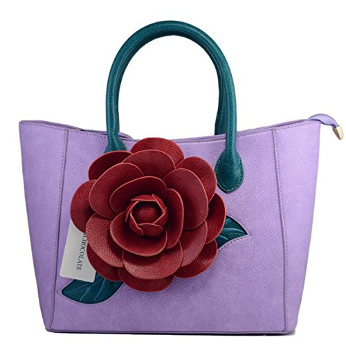 Women Handbag 3D Flower Seris PU Leather Purse Tote Bag By Vanillachocolate (Medium, Violet)