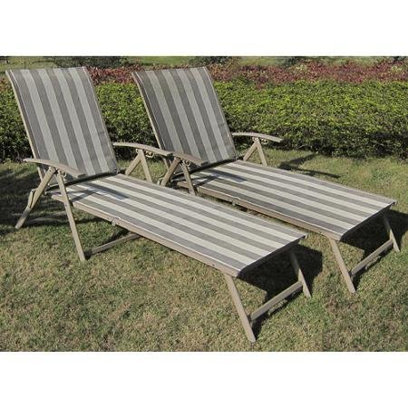 Mainstays Fair Park Sling Folding Lounge Chairs, Set of 2, Solid Stripe