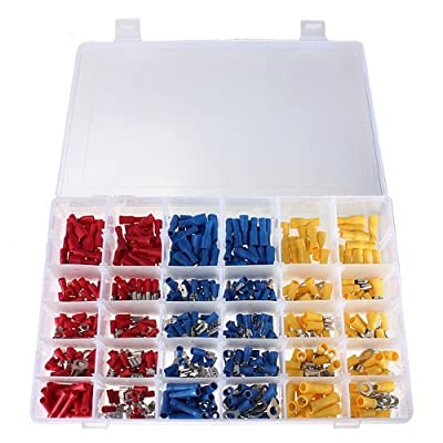 TAKSDAI 480 Pcs ASSORTED INSULATED ELECTRICAL WIRE TERMINALS CRIMP CONNECTORS SPADE SET