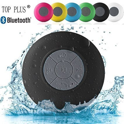 TOP PLUS® HD Water Resistant Bluetooth 3.0 Shower Speaker, Handsfree Portable Speakerphone with Built-in Mic, 6hrs of playtime, Control Buttons and Dedicated Suction Cup (Black)