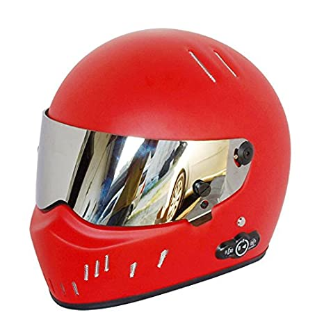 Casco de Moto con Bluetooth Fibra de vidrio material Casco de seguridad con tapa up casco para Adulto, Red+S: Amazon.es: Deportes y aire libre