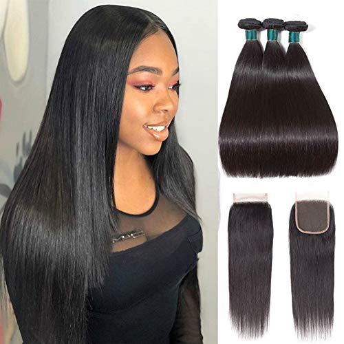 Brazilian Straight Hair Bundles With Closure 100% 9A Grade Unprocessed Virgin Human Hair Bundles 4X4 Free Part Lace Closure With Bundles(16 18 20 With 16,Natural Color) ()