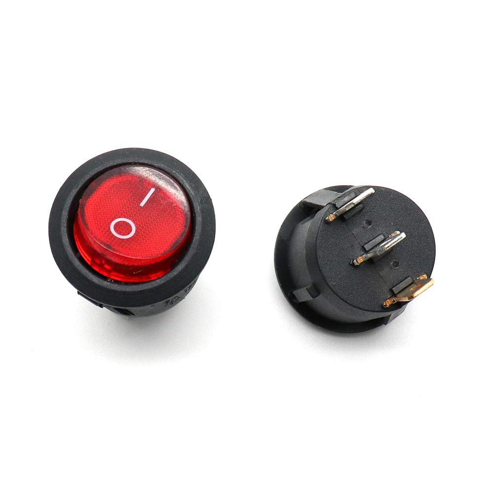 TOUHIA SPST 3 Pin 2 Position ON//OFF Boat Round Rocker Switch with Indicator Light 10A//125V 6A//250V AC,10Pcs Red