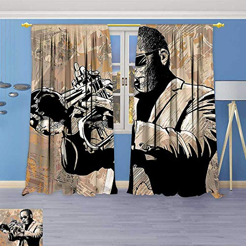 Design Print Grommet top Thermal Insulated Decor Grunge Style Illustration of an African Musician with Sunglasses Playing Trumpet Beige Linen Room Darkening Curtains ()