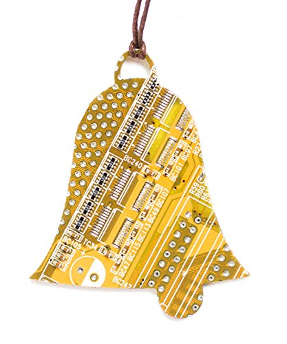 Yellow Bell Christmas Tree Ornament, recycled circuit board