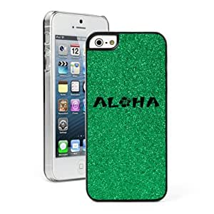 Apple iPhone 5 5s Glitter Bling Hard Case Cover Aloha Hibiscus (Green)