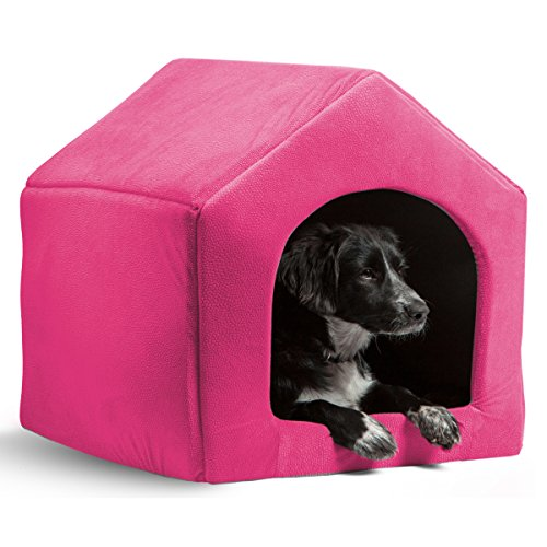 51iPc6YD9ZL - PAWZ Road 2-in-1 Dog House Cat Bed Pet Sofa-Waterproof and Skid-Free Base Red M
