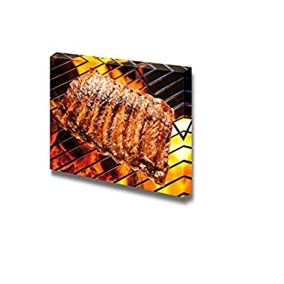 Canvas Prints Wall Art - Grilled Pork Ribs on The Grill BBQ | Modern Wall Decor/Home Art Stretched Gallery Canvas Wraps Giclee Print & Ready to Hang - 16