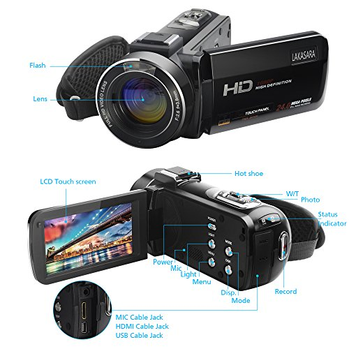 Video Camera, LAKASARA Full HD 1080P 30FPS WIFI Camera Camcorder DVR with External Microphone and Wide Angle Lens by LAKASARA (Image #8)