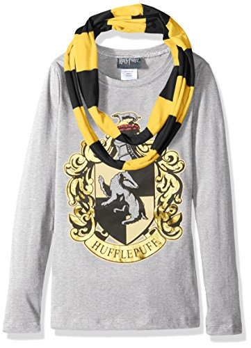 Harry Potter Big Girls' Hogwarts Long Sleeve T-Shirt With Scarf, Heather Gray, Small