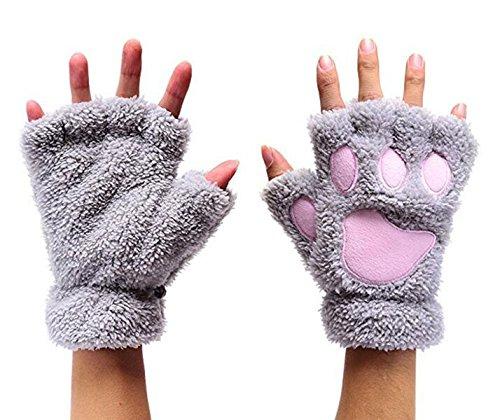 Otamise Women Winter Fluffy Bear Cat Plush Paw Claw Glove Half Finger Cute Gloves Mittens (Gray) -