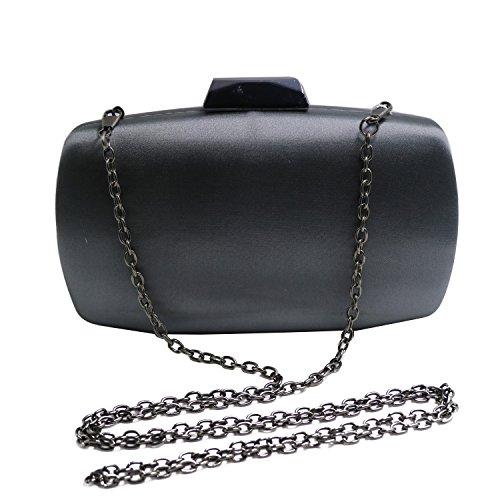 Satin Frame Clutch Handbag - DMIX Womens Satin Silk Hard Case Box Clutch Evening Bags Gray