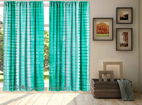 Indian Green Tie Dye Shibori Curtains Tapestry Drapes Window Valances Bohemian Set Handmade Tie Dye Cotton Tab Top Curtain Drape Panel By Shree Jinvar…