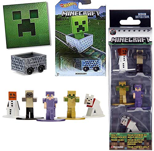 Minecraft MC17 Snow Golem Nano Series Cart Hot Wheels + Mini Figure Set Husk / Zombie Gold Armor / Alex Enchanted / Tame Wolf 5-Pack Collectibles + Sticker Bundle]()
