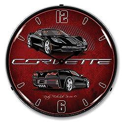 Corvette C7 Black LED Wall Clock, Retro/Vintage, Lighted, 14 inch
