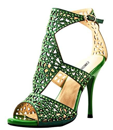 Women's Ankle Strap Heels Sandals Peep Toe Stiletto Pumps Party Dress Shoes Green Velveteen Size US8 EU39