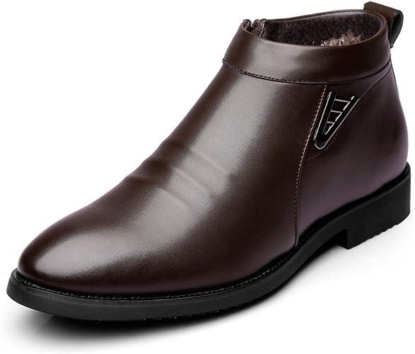 Chaussures Zip Cheville Boots Hommes Short de Courtes Hiver Chaudes Chaussure Simili Cuir Bottes Fourrées Bottines Ville 2e9IEDbWHY
