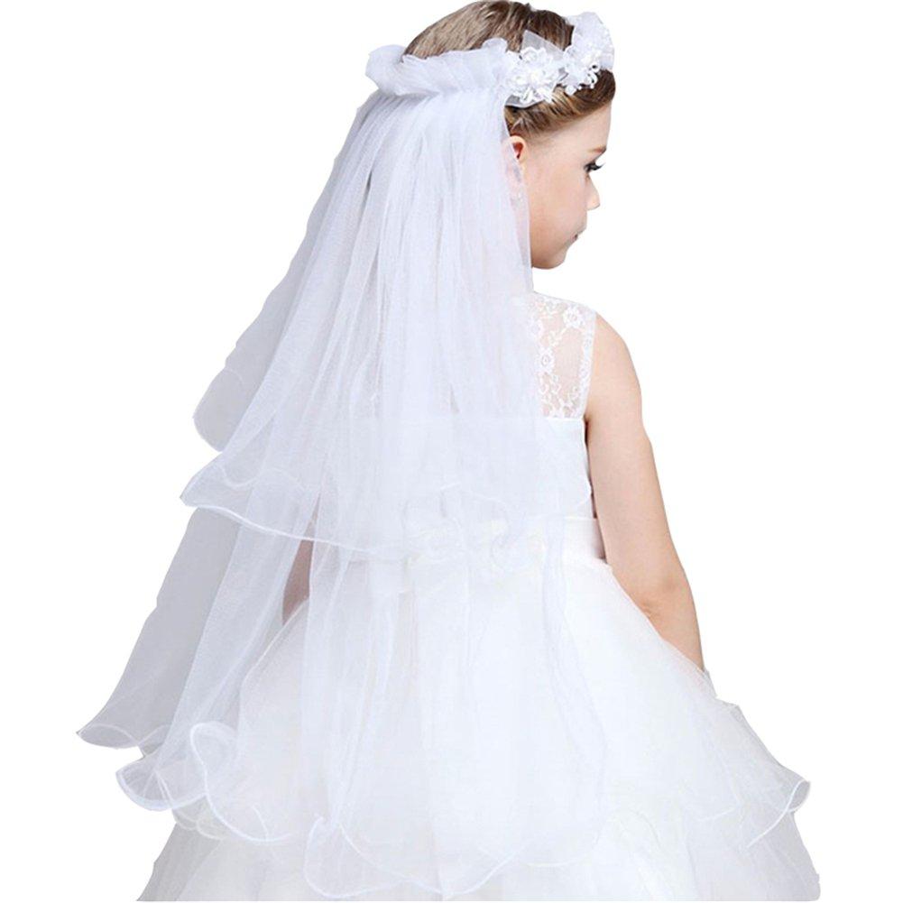 GSCH Girls' First Communion Veils Wreath Wedding Flower Pearls Crystal Lace Veil Hair Accessory 2 Tier (A White)