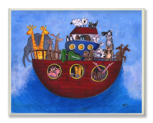 Stupell Home Décor Noah's Ark Rectangle Wall Plaque, 11 x 0.5 x 15, Proudly Made in USA