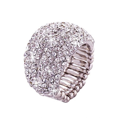 Jane Stone Fashion Bling Rhinestone Ring Adjustable Stretch Statement Wedding Ring for Women Girls Size 8
