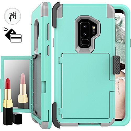 Galaxy S9 Plus Wallet Case for Women,Auker Card Holder+Makeup Mirror Shockproof Case with Belt Clip Heavy Duty Military Grade Full Body Hybrid Protective Cover for Samsung Galaxy S9 Plus (Mint)