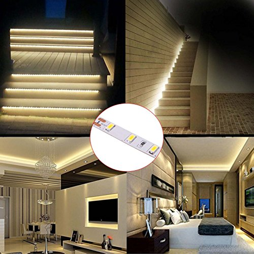 BIHRTC 12V DC Non-Waterproof LED Strip Light SMD 5630 32.8ft(10M) 5M/Roll 600 LEDs 300LEDS/Roll Flexible Rope Light (No Power Supply), Warm White by BIHRTC (Image #5)