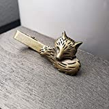 Bronze Fox Tie Clip By Arcanum By Aerrowae - Antique Gold Tie Bars for Groomsmen