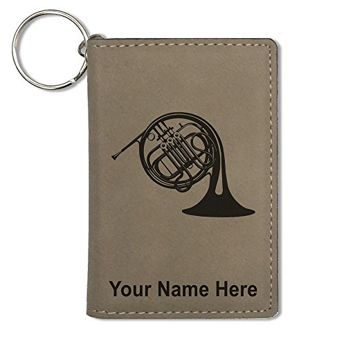 ID Holder Wallet, French Horn, Personalized Engraving Included (Light Brown)