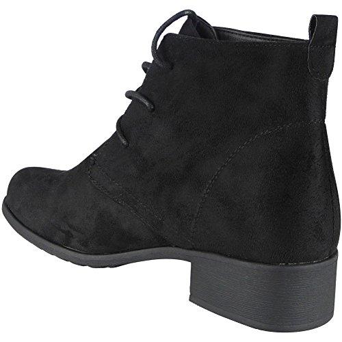 Damen Faux Velours Knöchel Beiläufig Arbeit Spitze auf Stiefel Größe 36-41 Schwarz