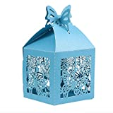 YeahiBaby 50pcs Love Heart Wedding Favor Boxes Hollow Out Craft Paper Box for Gifts Candy Sweets (Blue)
