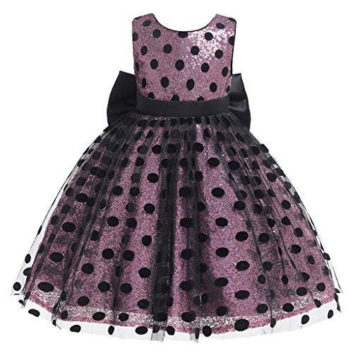 Sunyastor Girls Costume Cosplay Dress Dot Tulle Bow Princess Lace Dress Flower Pageant Party Dresses Holiday Dresses Pink