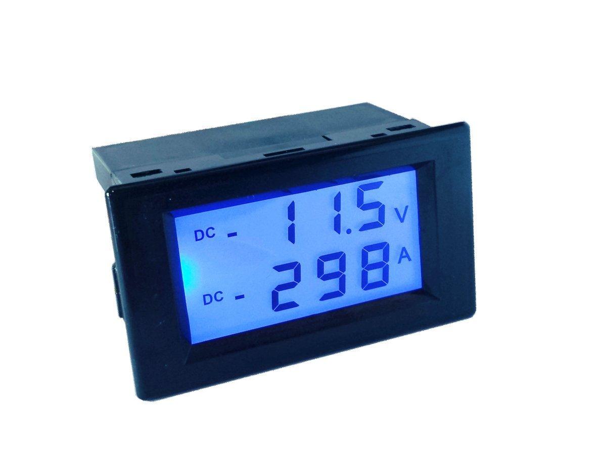 AILI DC +/- 500A 200V Digital Voltage Current Multimeter Blue LCD Volt Amp Meter Gauge Panel Tester Voltage Amperage Dual Display Power Monitor with Blue Back-light Meter and Shunt
