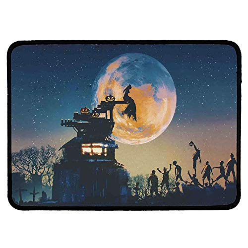 Fantasy World Custom Mouse Pad,Dead Queen in Castle Zombies in Cemetery Love Affair Bridal Halloween Theme for Electronic Games Office,9.84''Wx11.81''Lx0.12''H
