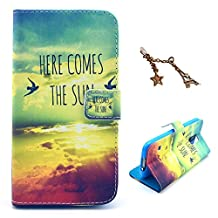 Uming® Retro Colorful Pattern Print Leather case for Apple Iphone 5S 5G 5 IPhone5 IPhone5S Apple5S PU Flip Leather Holster with Stand Stander Holder Hand Free Credit Card Slot Wallet Hasp Magnet Magnetic Button Buckle Shell Protective Mobile Cell Phone Case Cover Bag + 1 x Anti Dust Plug - Here comes the sun