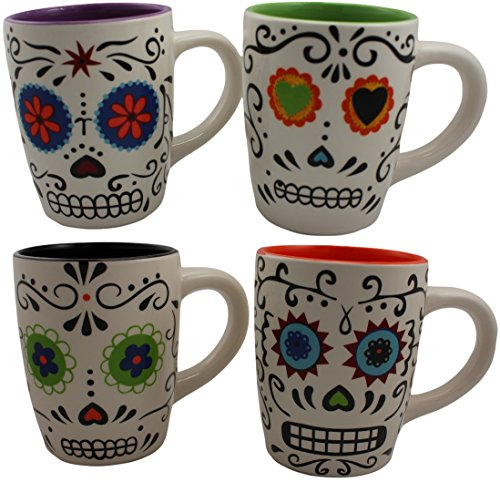 Skull Day Of The Dead Set of 4 ceramic mugs Colorfully Painted New Halloween