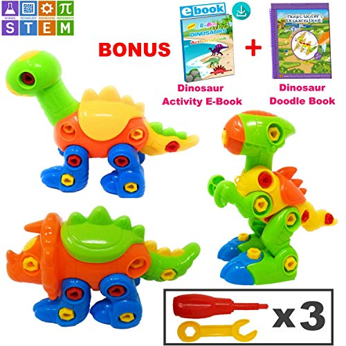 PlayShire Kids Toys - Dinosaur Toys | Take Apart Toys with Tools & Free Doodle Book. STEM Toys for 4-5 Year Old Boys & Girls. Construction Toys for Boys Age 6 and Above. Educational Toys - Set of 3