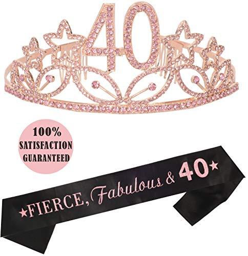 40th Birthday Tiara and Sash Pink| Happy 40th Birthday Party Supplies, Fierce, Fabulous & 40 Glitter Satin Sash and Crystal Tiara Birthday Crown for 40th Birthday Party Supplies and Decorations
