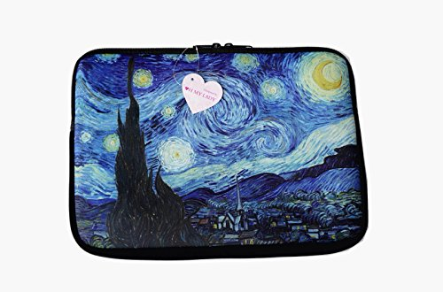 """Oh My Lady* 13-13.3"""" inch Van Gogh's Masterpiece (Starry Night) Oil Painting Neoprene Laptop Case/Sleeve/Bag/Pouch/Cover - Available in 7 Patterns"""