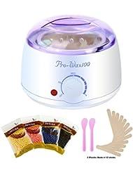 BEQOOL Hair Removal kit Wax Warmer Hard Wax Waxing Kit Wax Melts, Wax machine/Wax Electric+ 4 Flavors Hard Wax Beans + 2 mask sticks&12 Wax Applicator Sticks (white)