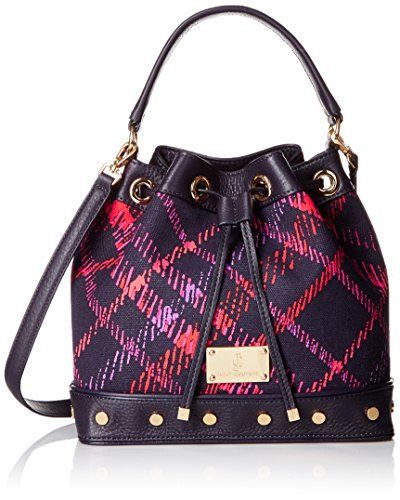Juicy Couture Black Label Bucket Bag with Long Strap and a Drawstring Closure with Studded Grommets on the Bottom, Midnight Sky Esmeralda Plaid