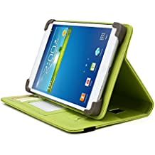 HKC 7 Inch Tablet Case, UniGrip PRO Series - LIME GREEN - By Cush Cases (Case Features Top Quality PU Leather with Bulit In Stand, Hand Strap, 3 Card Slots and SIM Card Holder)