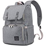HaloVa Diaper Bag, Premium Oxford Fabric Baby Nappy Backpack, Large Capacity Multi-Functional Waterproof Mommy Bag with Insulated Pockets, Practical Wide Open Travel Bag, Grey