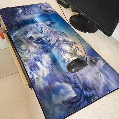 White Animal Wolf Alfombrilla de Ratón Grande Big Black Lock Edge ...